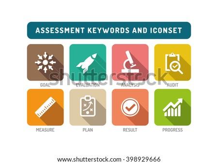 Assessment Flat Icon Set - stock vector