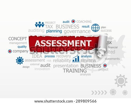 Assessment word cloud. Design illustration concepts for business, consulting, finance, management, career. - stock vector