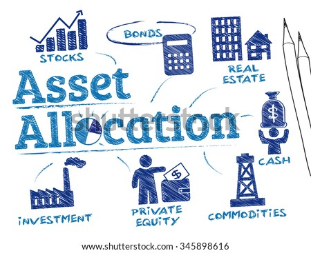asset allocation. Chart with keywords and icons - stock vector