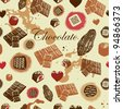 Assorted Chocolate background - stock vector