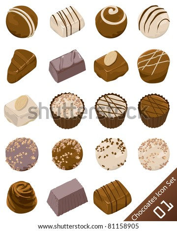 Assorted chocolate candies vector icon