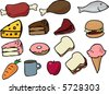 Assorted food icons lineart hand-drawn vector illustration - stock vector