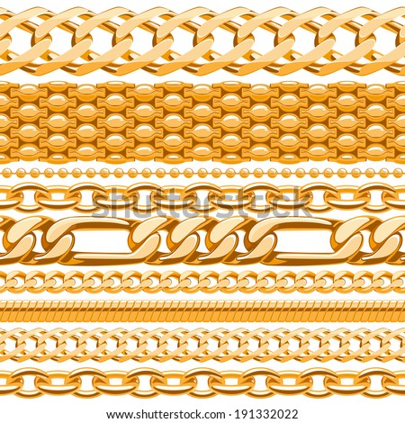Assorted golden chains on white seamless background. - stock vector