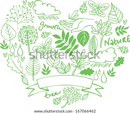 Assorted green eco and nature icons in heart shape - stock vector
