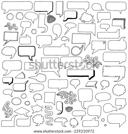 Assorted hand drawn doodle speech bubbles black and white vector set. - stock vector