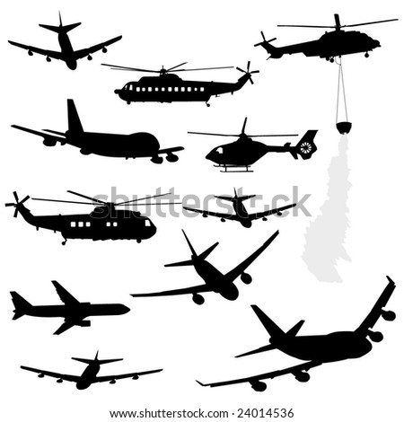 assorted helicopter and airplane silhouettes - stock vector