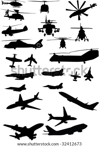 assorted helicopter and airplane silhouettes in black - stock vector