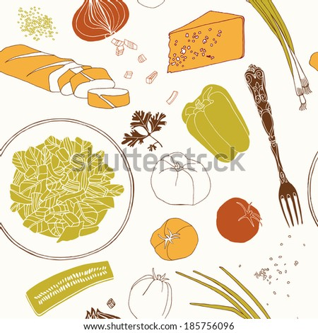 Assorted ingredients, seamless pattern. - stock vector