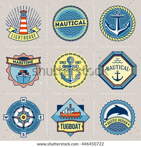 Assorted Nautical Logotypes Color Set. Thin Line Art Vector Vintage Style Elements. Elegant Geometric Design. - stock vector