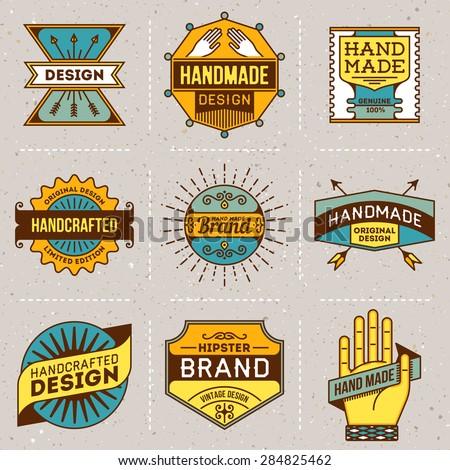 Assorted retro design color insignias logotypes set 10. Vector vintage elements. - stock vector