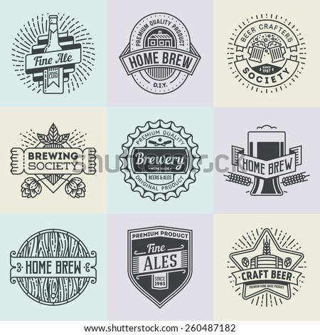 Assorted retro design insignias line art logotypes home brewery set 2. Vector high quality vintage elements. - stock vector