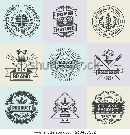 Assorted retro design insignias logotypes natural product set. Vector vintage elements. - stock vector