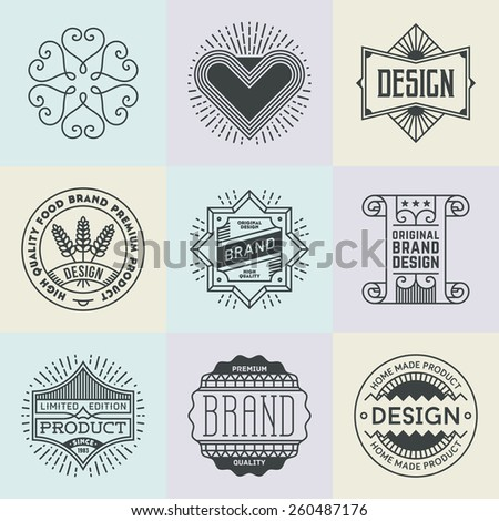 Assorted retro design insignias logotypes set 18. Vector vintage elements. - stock vector