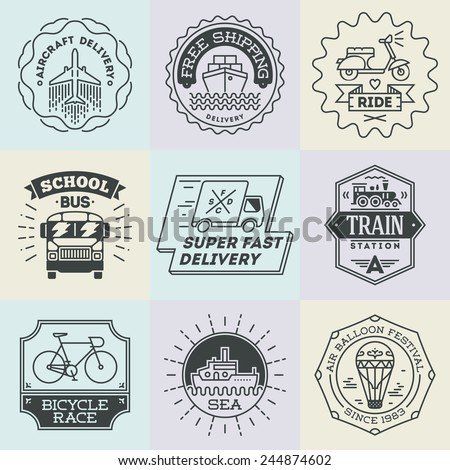 Assorted retro design insignias transport logotypes set. Vector vintage elements.  - stock vector
