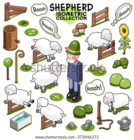 Assorted sheep collection with shepherd, items to build a flock of sheep on farmland. Isometric vector set - stock vector