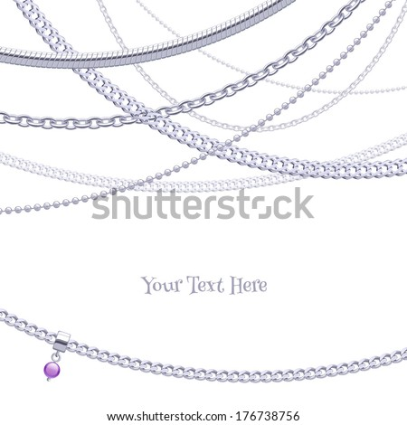 Assorted silver chains on white background with glass bead pendant. - stock vector