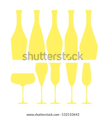 assorted sparkling wine glasses and bottles. champagne concept flat vector illustration.