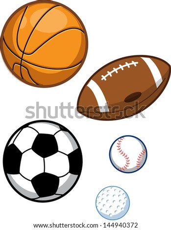 Assorted Sports Balls; Basketball, Football, Soccer Ball, Baseball, Golf Ball