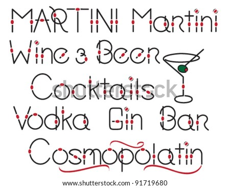 Assorted stylish words for alcohol, beer and wine and martini glass illustration - stock vector