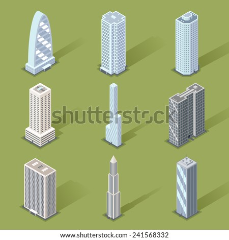 Assorted Three Dimensional Skyscraper Graphic Designs on Light Green Background. - stock vector