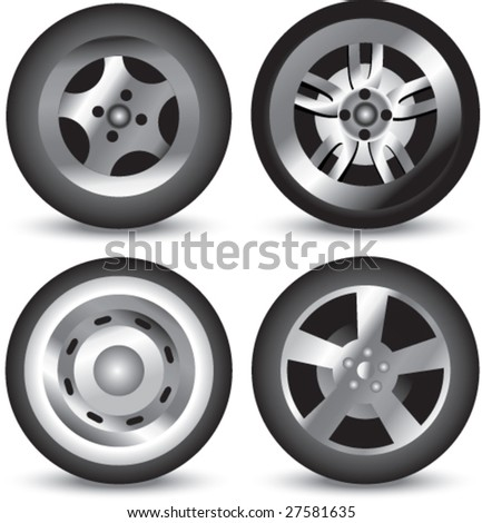 assorted tires - stock vector