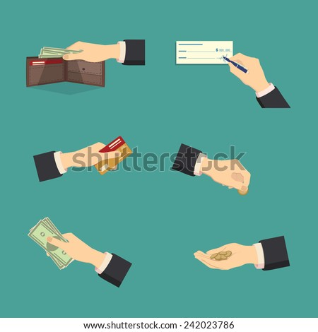 Assorted Vector Mode of Payment Types Drawings Isolated on Background. - stock vector
