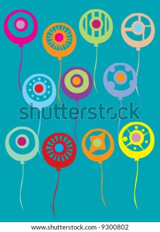 Assortment of abstract colorful balloons - stock vector