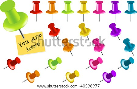 Assortment of Colored Thumbtacks at Various Angles (Another version in another format is available in my gallery.) - stock vector