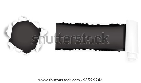 Assortment of ripped white paper against a black backgrounds. Vector illustration. - stock vector