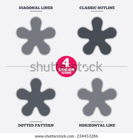 Asterisk round footnote sign icon. Star note symbol for more information. Diagonal and horizontal lines, classic outline, dotted texture. Pattern design icons.  Vector - stock vector