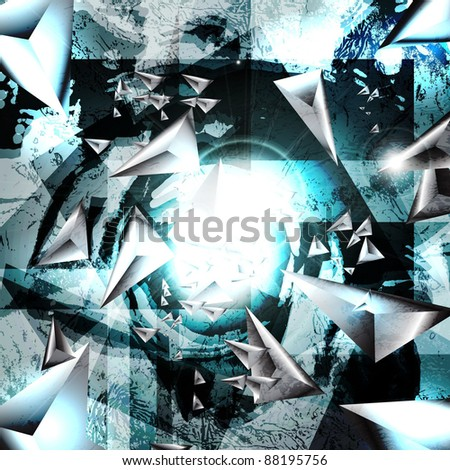 Asteroids in the space above the planet.Abstract Vector Background.