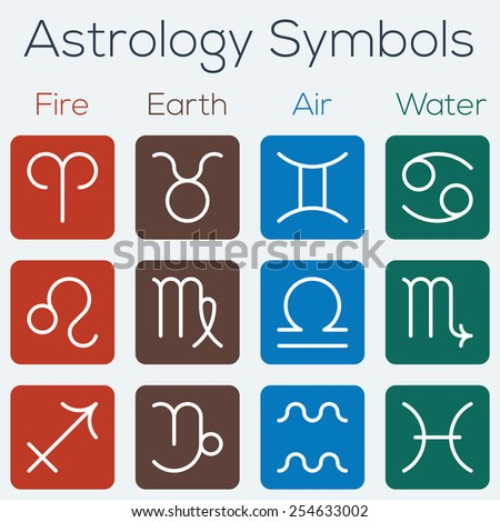 Astrological signs of the zodiac. Flat thin line icon style vector set of astrology symbols. - stock vector
