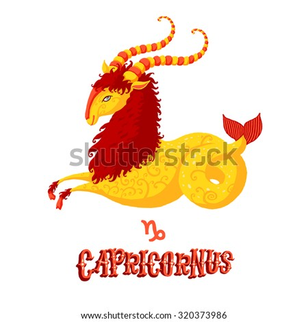 Astrological zodiac sign Capricorn. Part of a set of horoscope signs. Isolated vector illustration on white background. - stock vector