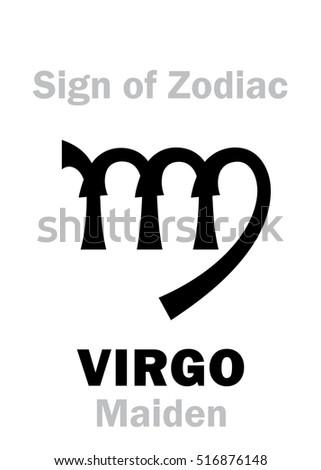 Astrology Alphabet Sign Zodiac Virgo The Stock Vector 516876148