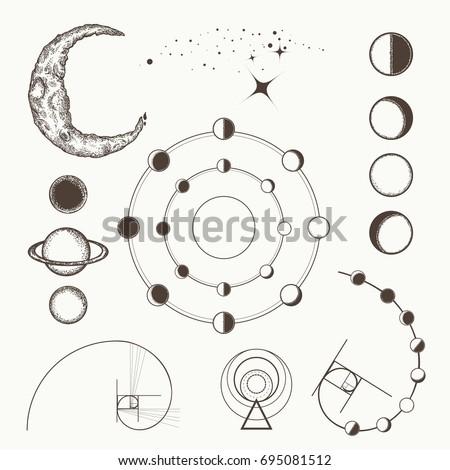 Astrology Alchemy Symbols Signs Astrology Lunar Stock Vector