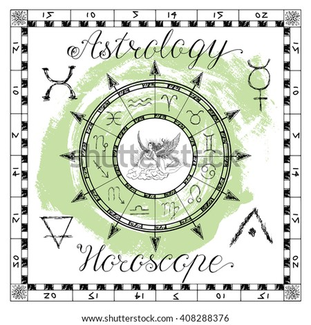 Astrology set for zodiac sign Virgo or Virgin. Line art vector illustration of engraved horoscope symbol. Doodle mystic drawing and hand drawn sketch with calligraphic lettering - stock vector