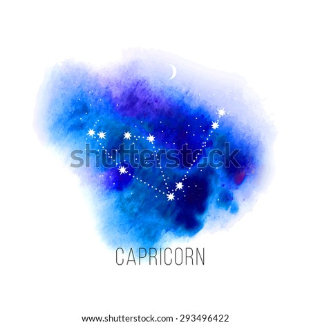 Astrology sign Capricorn on watercolor background. Zodiac constellation and part of zodiacal system and ancient calendar. Mystic symbol with stars, sun, moon and dots. Western horoscope illustration. - stock vector