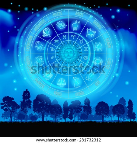 Astrology zodiac on the night sky. Vector illustration - stock vector