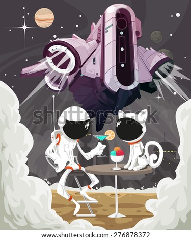 Astronaut and a cat on a background of soaring spaceship - stock vector