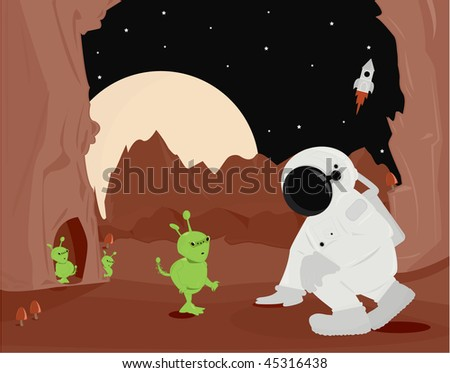 Astronaut and aliens on planet surface - vector version - stock vector