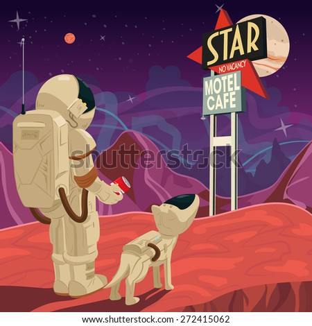 Astronaut and dog look at the motel sign - stock vector