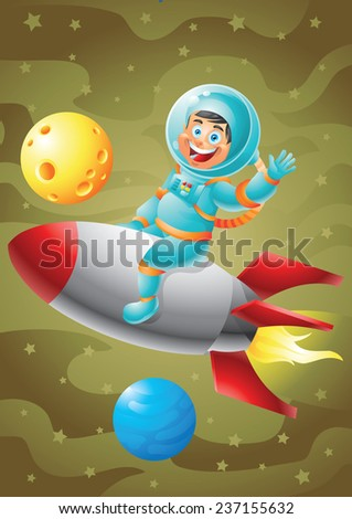 Astronaut boy riding rocket ship, outer space background
