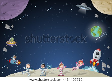 Astronaut cartoon characters on the moon with a alien spaceship. Solar System.  - stock vector