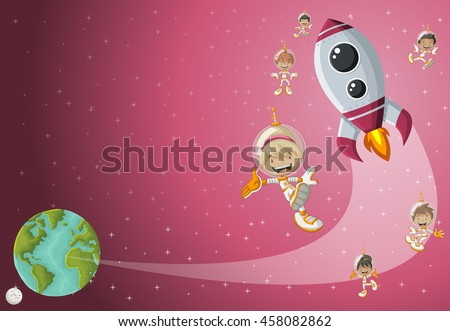 Astronaut cartoon children flying in the space with a futuristic rocket shuttle. Spaceship around the earth planet and moon.  - stock vector