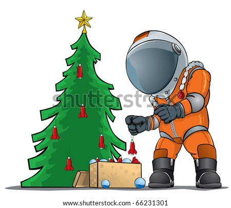 astronaut decorating the Christmas tree