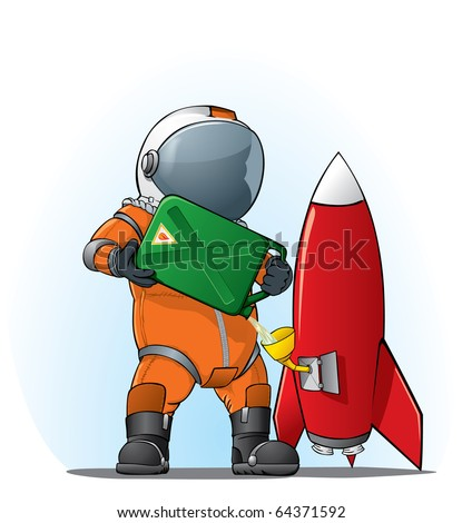 astronaut filling the rocket - stock vector