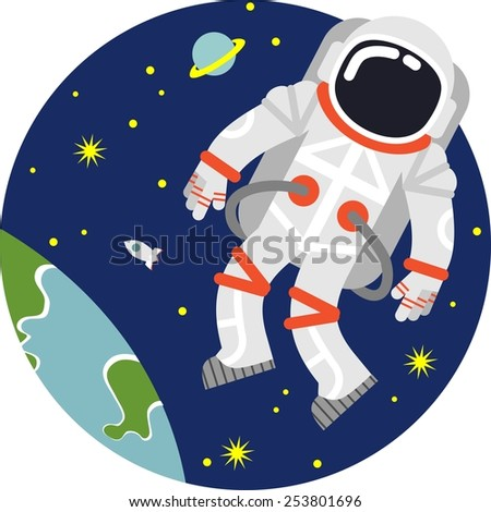 Astronaut floating in open space on planet and stars background - stock vector