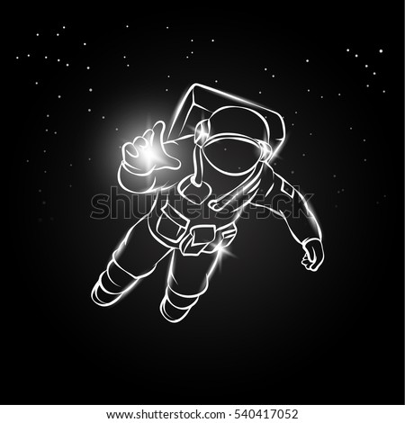 Astronaut flying space catches light his stock vector for Flying spaces