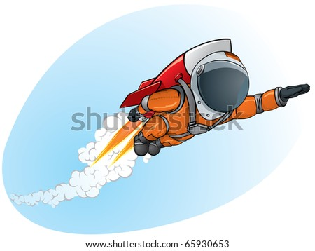 astronaut flying on the rocket - stock vector