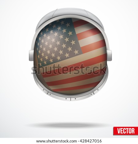 Astronaut helmet with big glass with flag USA reflecting on visor glass. Vector Illustration Isolated White Background.  - stock vector